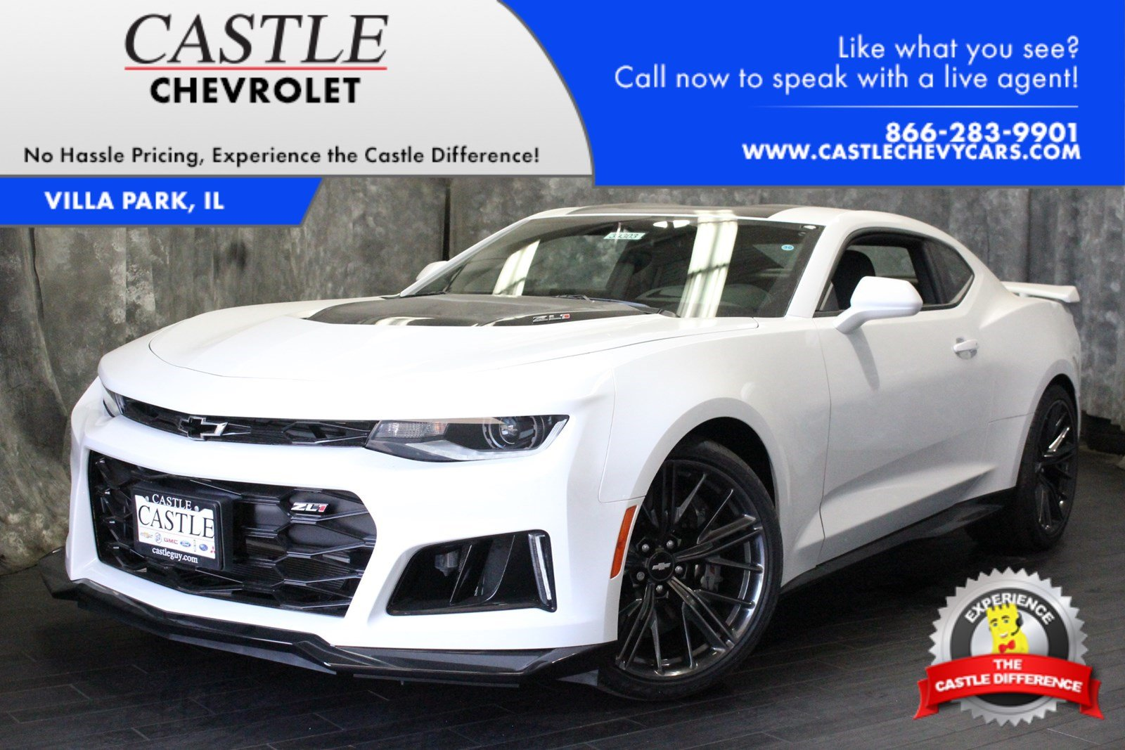 New 2018 Chevrolet Camaro Zl1 2dr Car In Villa Park 39303 Castle 1954 Chevy Rear Window For Blinds
